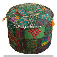 "18"" Ottoman Cover Pouf Indian Patchwork Handmade Footstool Vintage Round Hippie"