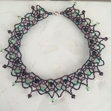 """Czech Glass Beaded Crochet Lace Collar Statement NECKLACE 22"""" Peacock Colors"""