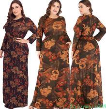 Muslim Women Loose Long Dress Floral Print Abaya Eid Islamic Kaftan Party Gown