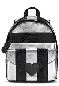 Victoria's Secret Luxe Python Stripe Mini City Backpack Black/Pewter SEALED