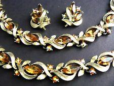 Vintage Lisner Necklace Bracelet Earrings Set Parure Amber Marquise Rhinestones