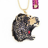 Betsey Johnson Enamel Crystal Lion Head Pendant Sweater Chain Necklace