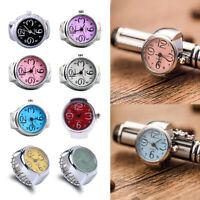 1Pc Women Men Finger Ring Watch Round Dial Elastic Quartz Ring Watch Creative