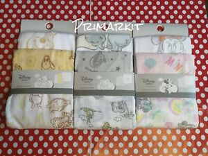 DISNEY BABY MUSLIN SQUARES DUMBO, MINNIE MOUSE,WINNIE THE POOH PACK OF 3 PRIMARK