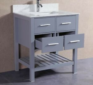 30 inch Belvedere Gray Bathroom Vanity with Marble Top and Cermanic Sink