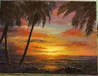 HAWAIIAN SUNSET Oil Seascape 16x12 Canvas Ocean Original by Artist Klein