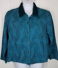CMC Color Me Cotton XL  Jacket teal button front embroidered long sleeve womens