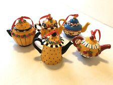 "Lot of 5 Me Mary Engelbreit Miniature 2"" Teapot Christmas Ornaments"