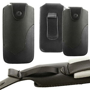 Universal Leather Belt Pouch Case Cover Holster Pull up Strap for Mobile Phones