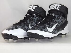 Nike Air Huarache Pro Mid Metal Black White baseball cleat 599235 099