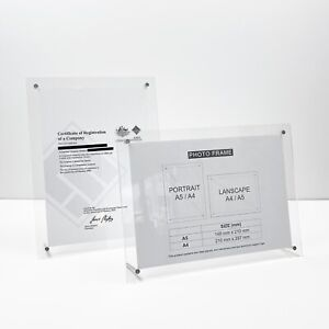 A4/A5 Clear Acrylic Photo Frame, Art/Award Display Frame with Aluminum Stand leg