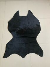 Black Calf Skin Rug Cowhide Rug Small Real Animal Hide Area Rug Cow Rug Leather