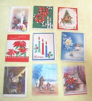 9 Vintage Greeting Card Christmas 1940-50s Deers Candles Poinsettia Religious C7