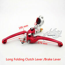 Red Folding Brake Clutch Levers Perch For Chinese 50cc-250cc Pit Dirt Trail Bike