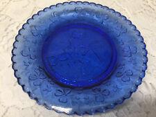 Blue Vaseline glass Irish Leprechaun harp plate uranium tray radioactive clover