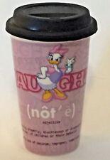Disney NAUGHTY or NICE Minnie Mouse & Daisy Duck tall ceramic Travel Mug w/Lid