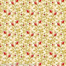 Peyton Place by Nancy Gere roses on cream stripe quilting fabric
