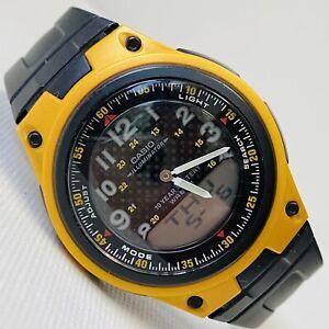 Casio Telememo 30 Illuminator World Time Men's Black Yellow Watch AW80-9B