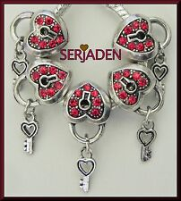 5 Red Stone Heart Key Charm European Style Jewelry 11 * 14 & 5 mm Hole R028