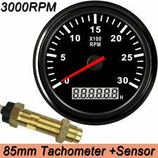 85mm Car Marine Digital Tachometer Boat Gauge Withsensor Waterproof 3000rpm