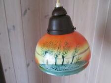 Schöne Hängelampe Art Deco toll gestaltetes Lampenglas und Bakelitfassung