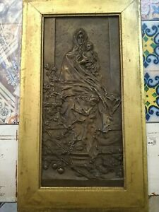 Antique Bas-Relief Bronze Frame Golden Madonna of The Olive Trees