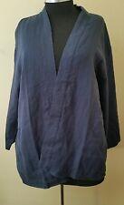 Pure Jill Navy linen Kimono style shirt blazer sz L
