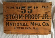 """Antique Wood Crate """"55"""" Storm Proof Jr. National Mfg. Co. Sterling, IL Barn Door"""