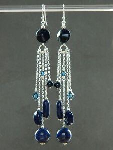 Lapis Gemstone, Vintage Navy Blue Glass, Swarovski Crystal, Silver Long Earrings