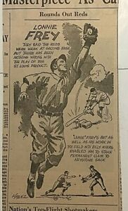 "1939 newspaper panel ""Rounds Out Reds"" - Lonnie Frey Cincinnati Reds baseball"