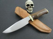 John Reinwald Custom 52100 Walnut Hunting EDC Fixed Blade Knife Leather Sheath