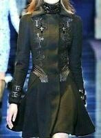 Gianni VERSACE Leather Cross Wool Cashmere Black Runway Coat US 2 4 / IT 40