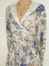LAURA ASHLEY VINTAGE 1990 ENGLISH GARDEN DRAPED BODICE LACE COLLAR DRESS, 10