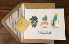 Papyrus Thank You Succulent Small Note Greeting Card Glitter Sticker Boho Cactus
