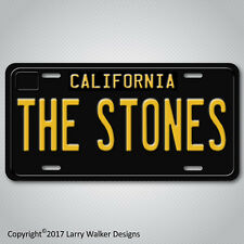 ROLLING STONES Black 1960s Vintage California Aluminum Vanity License Plate Tag