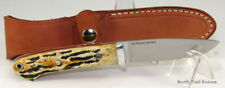 Bark River Knives Bobcat Hunter, CPM 154, Antique Stag Bone with Red Liners