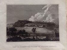VEDUTA QUEBEC CAPITALE BRITISH AMERICA incisione 1824 M. Craig Marina Canada