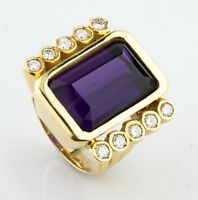 Amethyst & Diamond 18k Yellow Gold Emerald Cut Retro Ring Size 6.75
