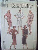 Vintage Simplicity Pattern 8620 Mock-Wrap Dress in Two Lengths 1980s Cut Size 12
