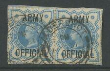 GB OFFICIAL ARMY QV 1901 1/2d PAIR...BLUE...ALDERSHOT