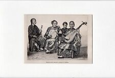 Antique mounted print :portrait chinese musicians China / music 1875