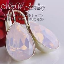 925 Silver Earrings Crystals From Swarovski® PEAR Fancy Stone Rose Water Opal