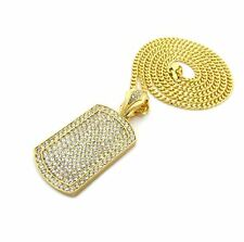 """NEW 14K GOLD PT FULL ICED DOG TAG PENDANT w/ 30"""" CUBAN CHAIN HIP HOP NECKLACE"""