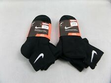 6 Pairs Nike Performance Cotton Quarter Socks Black Size 8 - 11 New With Tags