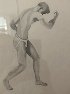 Black and White Drawing Male Semi-Nude Mid-Century Modernist MCM