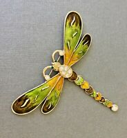 Vintage  large dragonfly brooch in enamel on  gold tone  metal with crystals