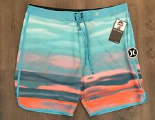 HURLEY Men's $65 Phantom Julian Wilson Blue/Orange Board Shorts  - Size 38