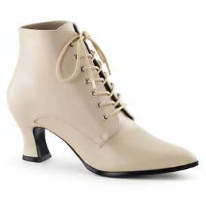 "Funtasma Victorian Ankle Boots Shoes Cream 2.75"" Heel Steampunk 10"