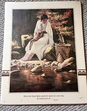 Vintage SIDEKICK Print Roger Cooke Indian Girl Indian Blessing Quote 16 X 20