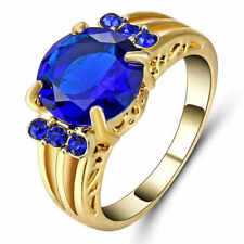 Blue Sapphire Ring 10KT Yellow Gold Filled Jewelry For Women/Men's Gift Size 6